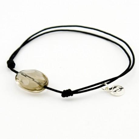 Bracelet cordon noir quartz fumé facetté pendant argent massif