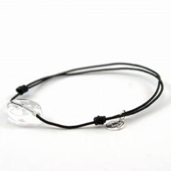 Bracelet cordon noir cristal de roche facettée