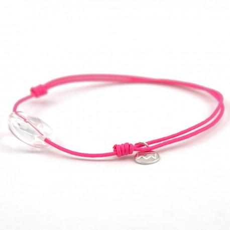 Bracelet cordon fushia cristal de roche facettée