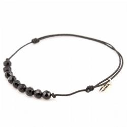 Bracelet cordon noir 11 Onyx pendant argent