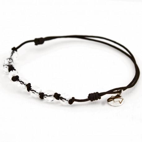 Bracelet 8 Cristaux de roche avec noeuds cordon noir
