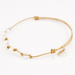 Bracelet cordon gold 8 Cristaux de roche avec noeuds