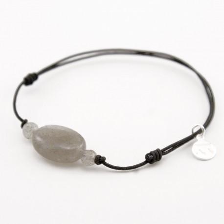 Bracelet 3 labradorites cordon noir fermoir argent massif 925