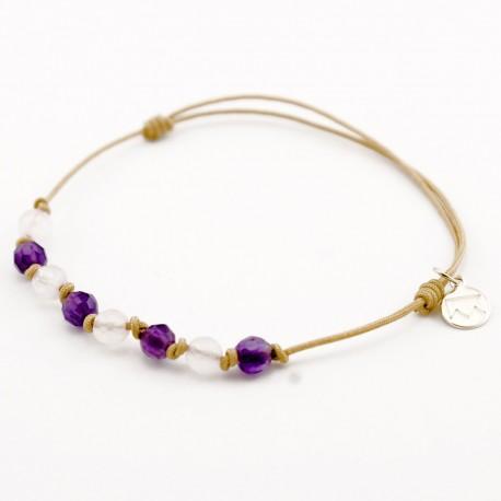 Bracelet 8 pierres Améthystes et Quartz roses cordon gold
