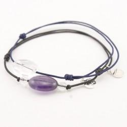 Ensemble 2 bracelets cordon noir 3 cristal de roches et noir multi pierres