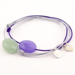 Ensemble 2 bracelets cordon violet jade violet et aventurine facettée