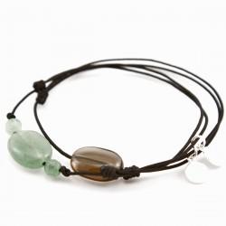 Ensemble 2 bracelets cordon noir 3 aventurines et une quartz fumé