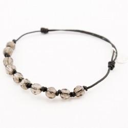 Bracelet 9 pierres quartz fumé