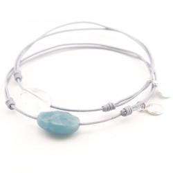 Ensemble 2 bracelets cordon gris amazonite facettée / gris cristal de roche