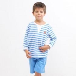 T-shirt WALLY rayure marin manches longues jersey coton bio saphir