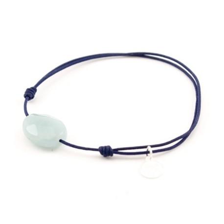 Bracelet jade bleu facetté cordon Marine pendant argent massif