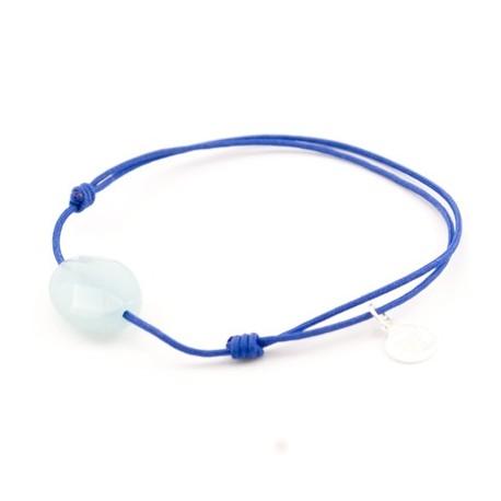 Bracelet jade bleu facetté cordon Bleu pendant argent massif